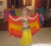 Belly dance veil workshop at womens group
