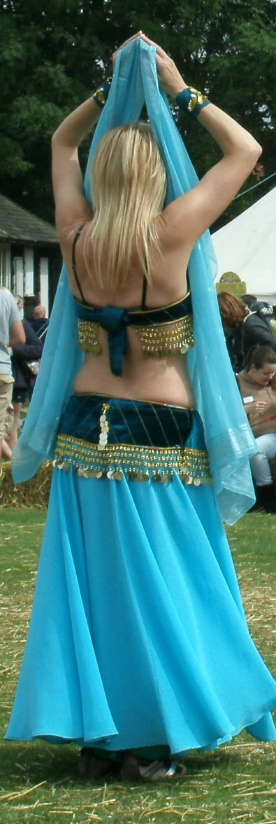 Pale blue skirt and veil, temple arms