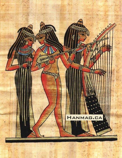 Papyrus showing Egyptian Women Entertaining